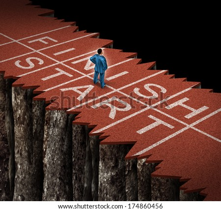 No opportunity and limited chances business concept as a lost businessman standing on a damaged separated track and field path as an adversity metaphor with limits on career and narrow possibilities. - stock photo