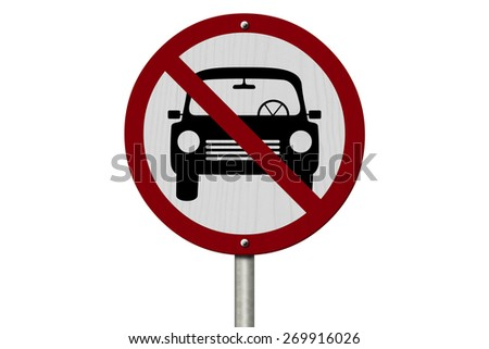 No Parking Allowed Sign, An red road sign with car icon and not symbol isolated on white - stock photo