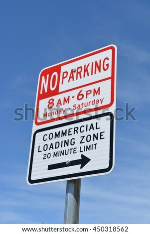 No Parking Commercial Loading Zone Sign