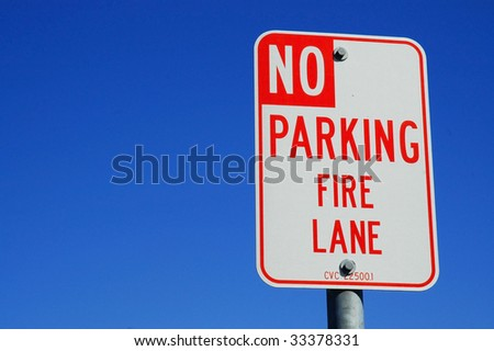 No parking fire lane sign, room for copy space - stock photo