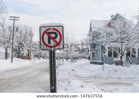 No parking sign at winter - stock photo