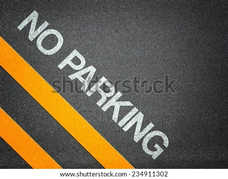 No Parking Text Writing Road Asphalt Word Floor Ground - stock photo