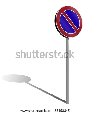 no parking traffic sign, 3d illustration - stock photo