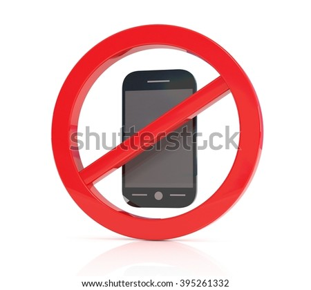 No phone vector sign, 3d illustration