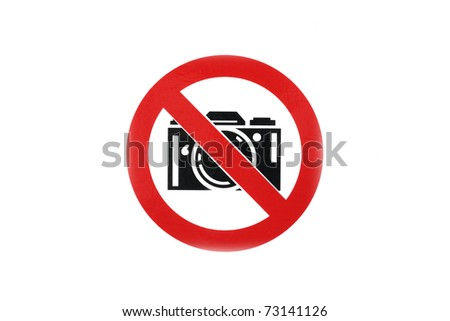 No photo camera sign in white background - stock photo
