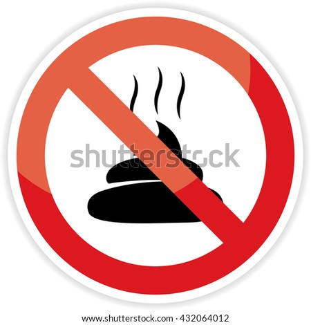 No poop sign on white background. - stock photo