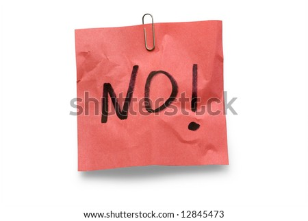 no, protest on paper note - stock photo
