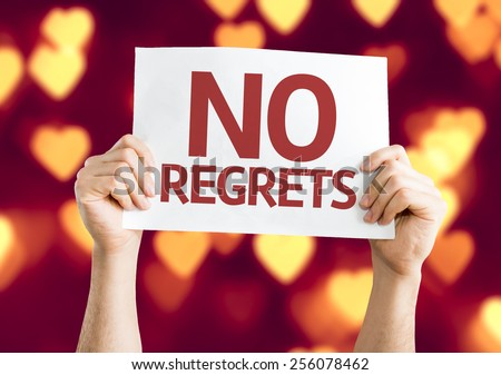 No Regrets card with heart bokeh background - stock photo