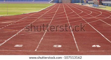 No 2-3-4 runing track in stadium. - stock photo