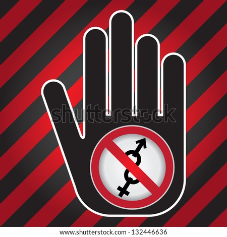 No Sex Prohibited Sign Present By Hand With No Male and Female Sex Sign Inside in Caution Zone Dark and Red Background - stock photo