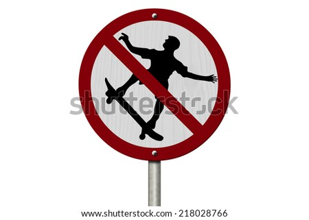 No Skateboarding Allowed Sign, An red road sign with skateboarder icon and not symbol isolated on white - stock photo