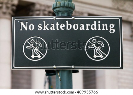 No Skateboarding Sign in New York City - stock photo