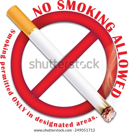 No smoking allowed - red sticker containing a realistic lighting cigarette on prohibited sign. Smoking permitted only in designated areas. Print colors used. - stock photo