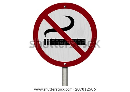 No Smoking Allowed Sign, An red road sign with cigarette icon and not symbol isolated on white - stock photo