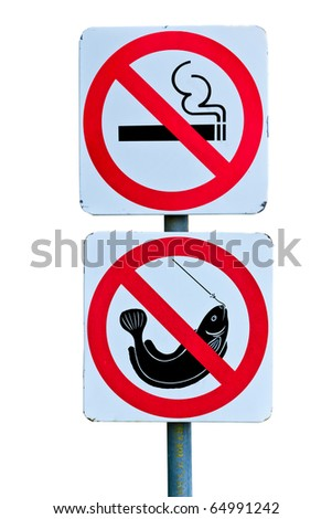 no smoking and no fishing on white background
