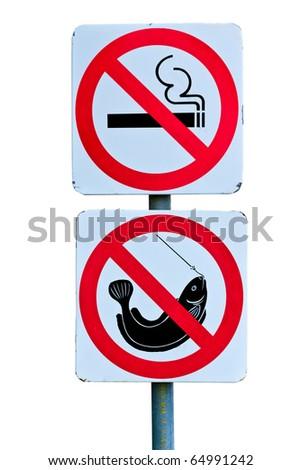 no smoking and no fishing on white background - stock photo