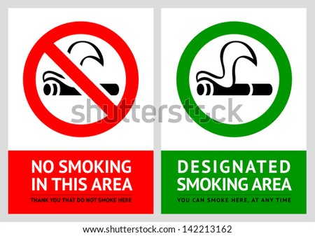 No smoking and Smoking area labels - Set 5. Rasterized versions (copy of the vector) - stock photo