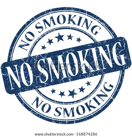 No smoking grunge blue round stamp