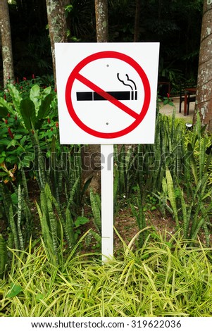 No smoking sign in park, symbol