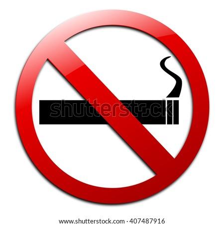 No smoking sign isolated on white background. - stock photo