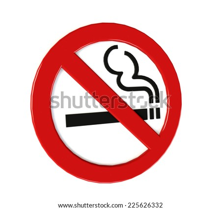 no smoking sign isolated on white. 3D illustration