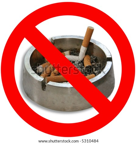 No Smoking sign with ashtray and cigarettes - stock photo