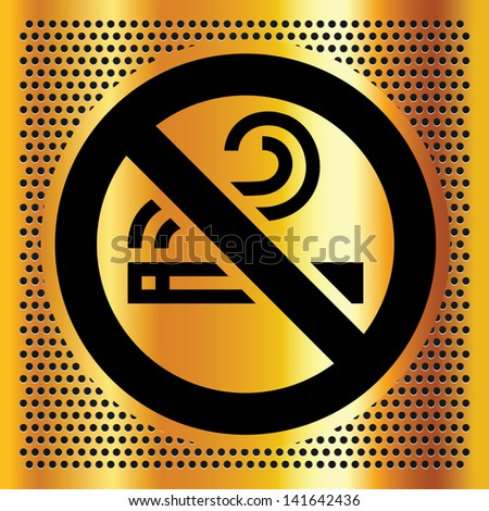 No smoking symbol on a bronze backdrop - stock photo