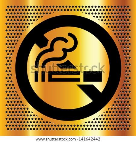 No smoking symbol on a gold backdrop - stock photo
