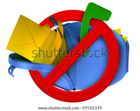 No spam concept. Overflowing blue mailbox with yellow mails. - stock photo
