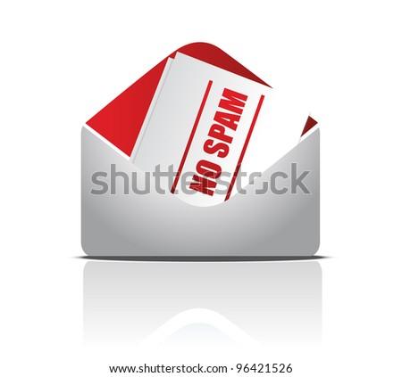 no spam envelope illustration design over white background - stock photo