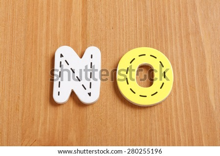 NO, spell by woody puzzle letters with woody background - stock photo