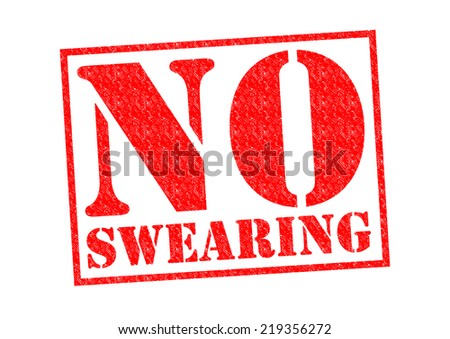 NO SWEARING red Rubber Stamp over a white background. - stock photo