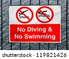 No Swimming and no diving red sign - stock photo