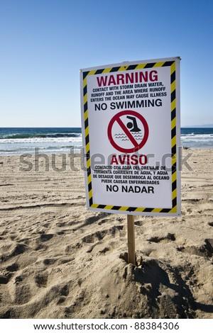 No Swimming Contaminated Water - stock photo