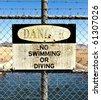 No Swimming Danger Sign - stock photo