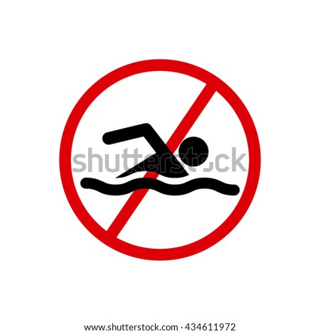 No swimming hazard- warning sign - stock photo