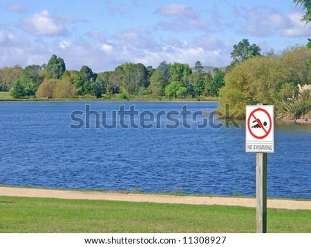 No swimming in the lake