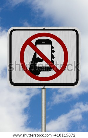 No Texting Road Sign,  A white Road Sign with symbol of hand and mobile phone with sky background