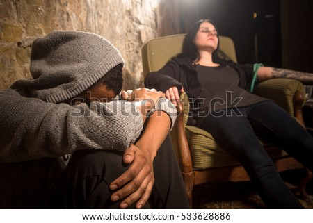 No to drugs concept. Man and woman with AIDS resting and relaxing. Disease concept. Drug addict sleeping after taking drugs.