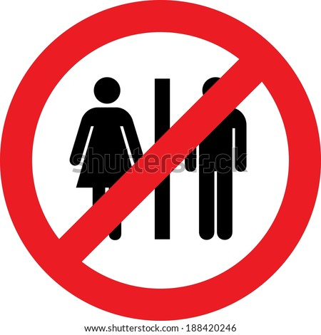 No toilets sign with woman and men symbol - stock photo