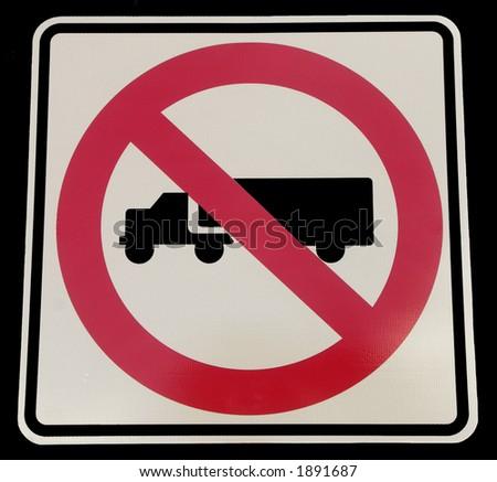 no trucks reflective sign - stock photo