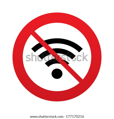 No Wifi sign. Wi-fi symbol. Wireless Network icon. Wifi zone. Red prohibition sign. Stop symbol. - stock photo