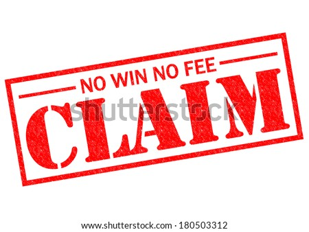 NO WIN NO FEE CLAIM red Rubber Stamp over a white background. - stock photo