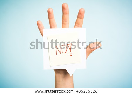 No word handwritten on speech bubble over hand and blue background