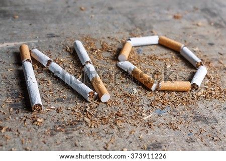 No word of a cigarette on a wooden background