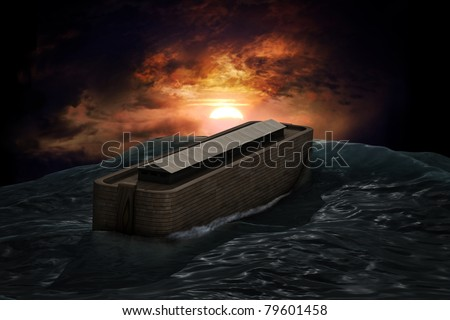 Noah's Ark riding on a swell after the Great Flood - stock photo