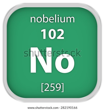 Nobelium material on the periodic table. Part of a series. - stock photo