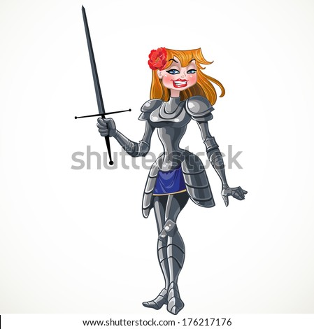 Noble beautiful princess knight with sword