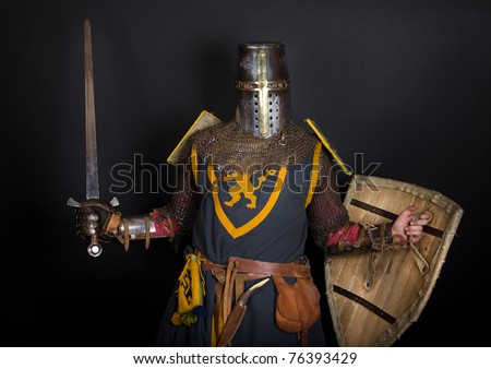 Noble knight holding a sword and shield - stock photo