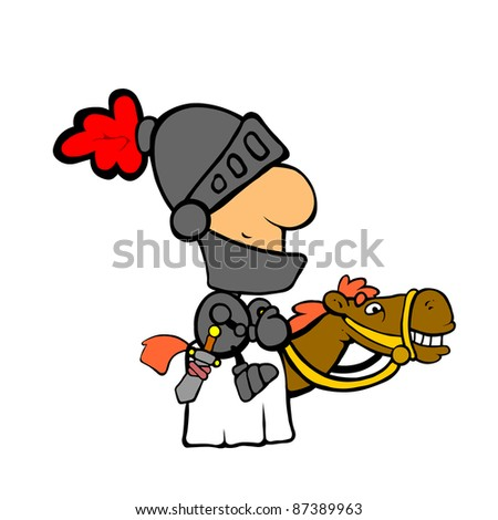 Noble knight riding his dedicated horse - stock photo